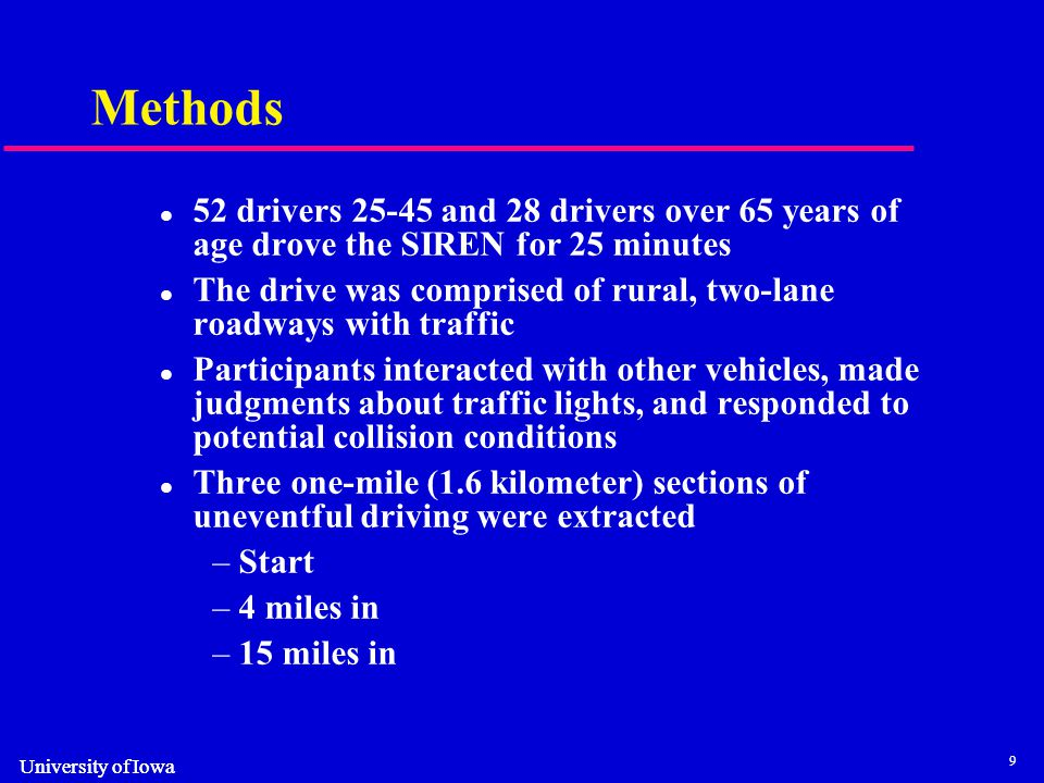 9 University of Iowa Methods 52 drivers 25-45 and 28 drivers over 65 years of age drove the SIREN for 25 minutes The drive was comprised of rural, two-lane roadways with traffic Participants interacted with other vehicles, made judgments about traffic lights, and responded to potential collision conditions Three one-mile (1.6 kilometer) sections of uneventful driving were extracted –Start –4 miles in –15 miles in