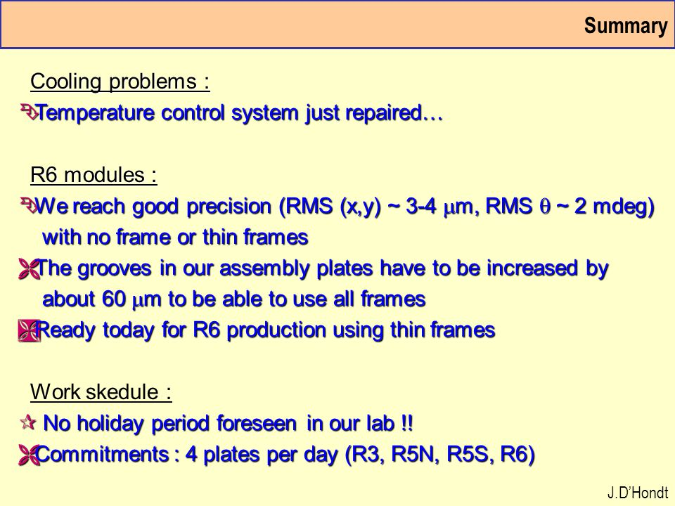 Summary Cooling problems : Cooling problems : Ê Temperature control system just repaired… R6 modules : R6 modules :  We reach good precision (RMS (x,y) ~ 3-4  m, RMS  ~ 2 mdeg) with no frame or thin frames with no frame or thin frames Ë The grooves in our assembly plates have to be increased by about 60  m to be able to use all frames about 60  m to be able to use all frames Ì Ready today for R6 production using thin frames Work skedule : ¶ No holiday period foreseen in our lab !.