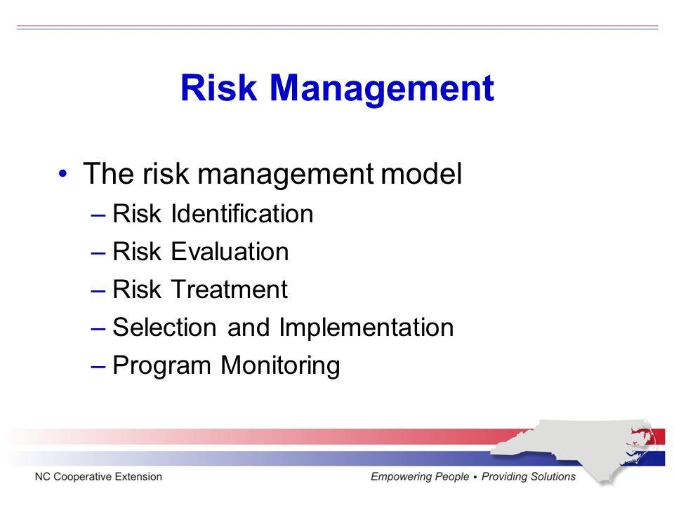 Risk Management The risk management model –Risk Identification –Risk Evaluation –Risk Treatment –Selection and Implementation –Program Monitoring