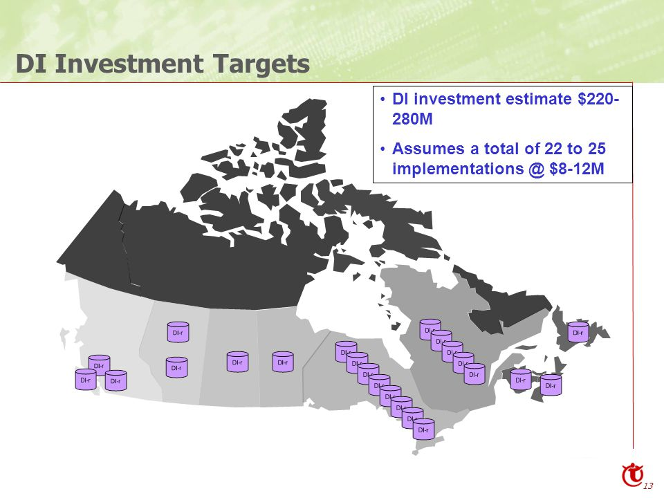 13 DI Investment Targets DI investment estimate $220- 280M Assumes a total of 22 to 25 implementations @ $8-12M