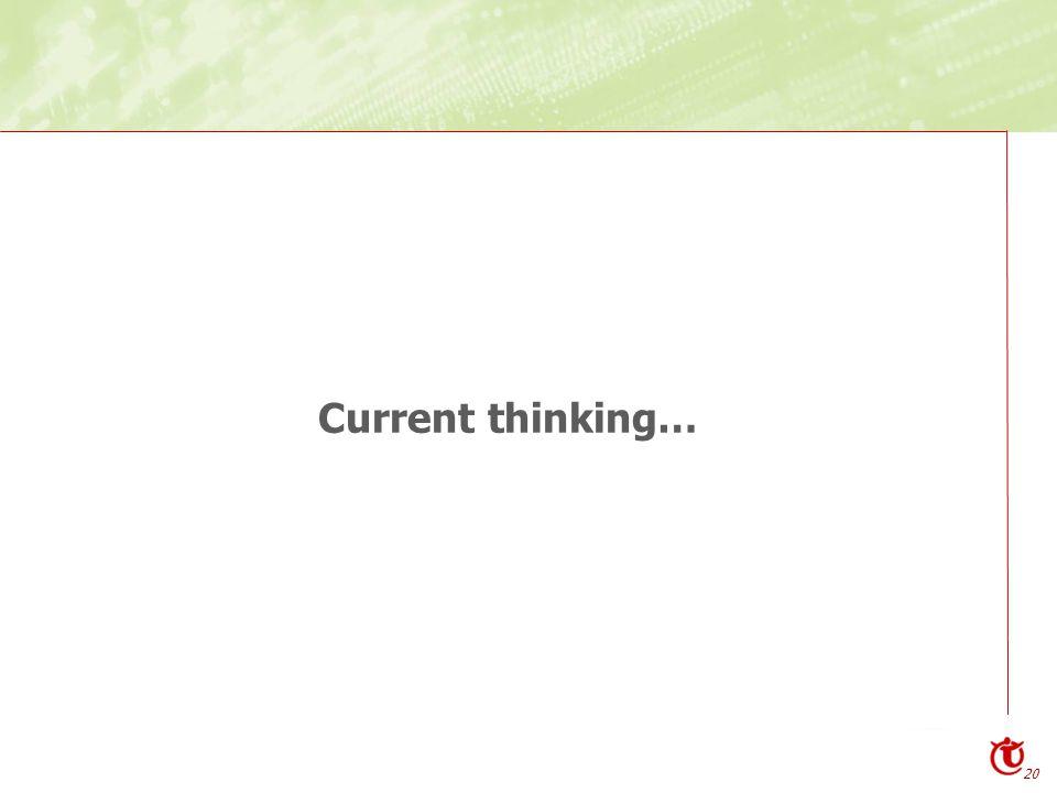 20 Current thinking…