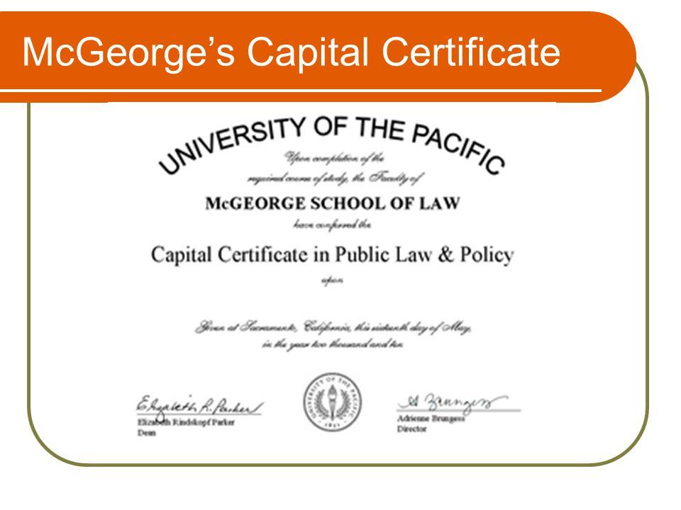 McGeorge's Capital Certificate