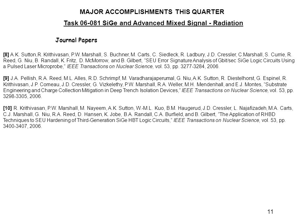 11 MAJOR ACCOMPLISHMENTS THIS QUARTER Task 06-081 SiGe and Advanced Mixed Signal - Radiation Journal Papers [8] A.K.