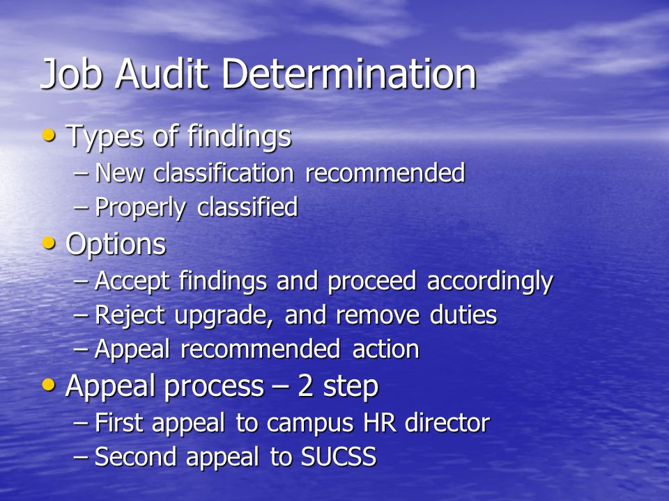 Job Audit Determination Types of findings Types of findings –New classification recommended –Properly classified Options Options –Accept findings and