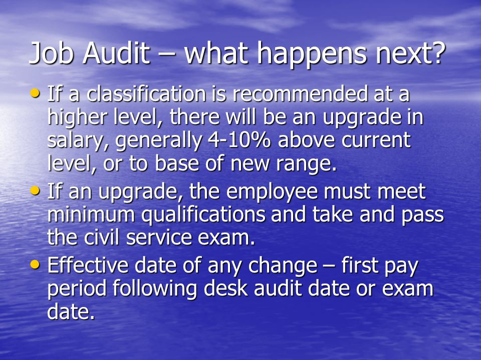 Job Audit – what happens next.