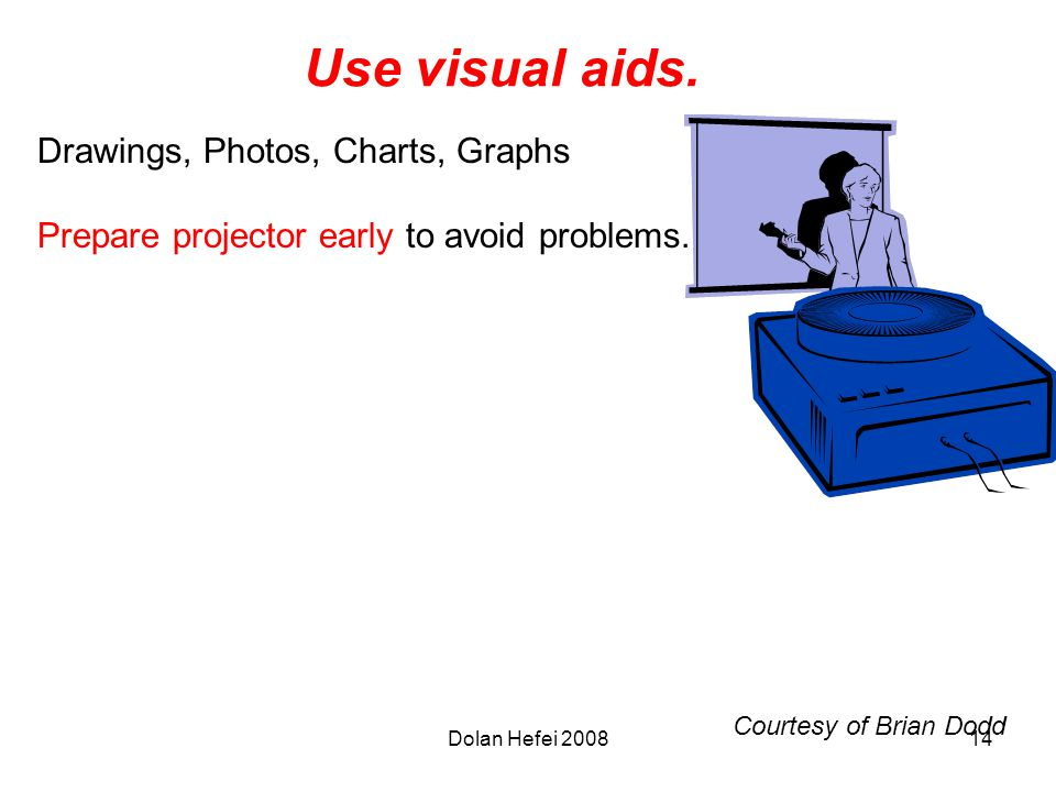 Dolan Hefei 200814 Use visual aids. Drawings, Photos, Charts, Graphs Prepare projector early to avoid problems. Courtesy of Brian Dodd