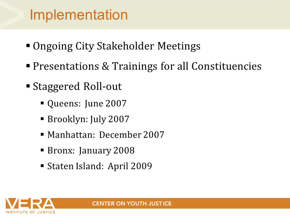 Implementation  Ongoing City Stakeholder Meetings  Presentations & Trainings for all Constituencies  Staggered Roll-out  Queens: June 2007  Brooklyn: July 2007  Manhattan: December 2007  Bronx: January 2008  Staten Island: April 2009