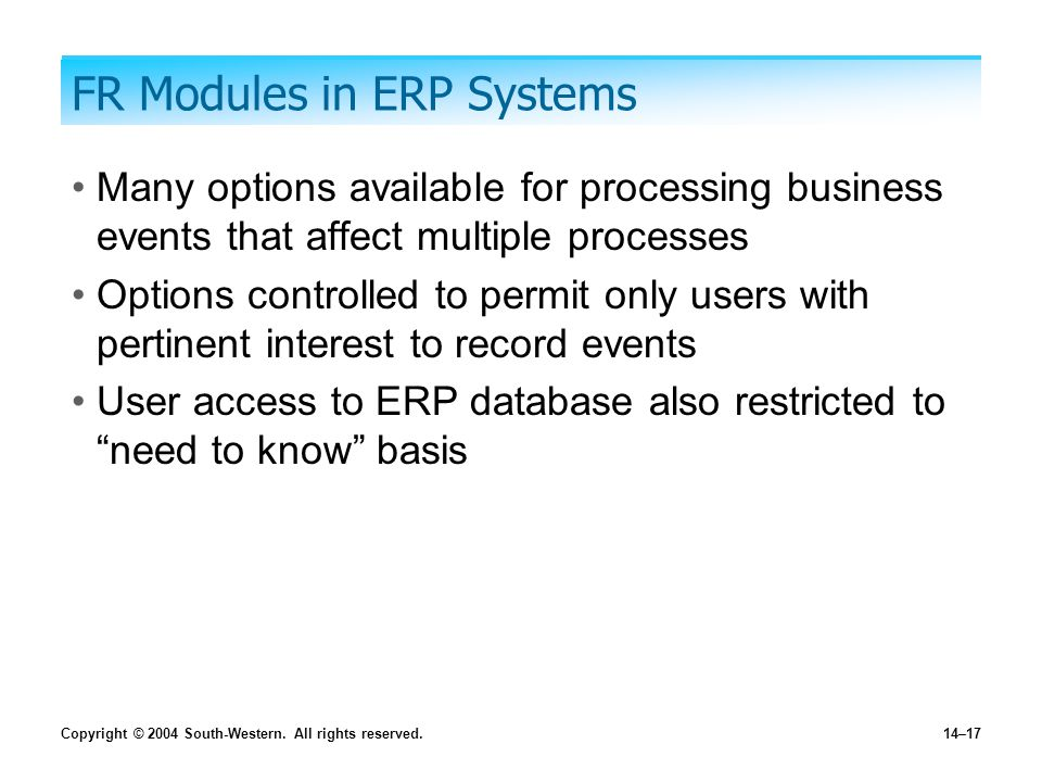 Copyright © 2004 South-Western. All rights reserved.14–17 FR Modules in ERP Systems Many options available for processing business events that affect