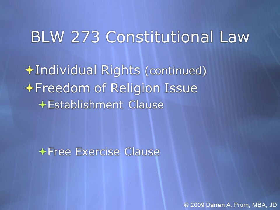 BLW 273 Constitutional Law  Individual Rights (continued)  Equal Protection  Test Levels:  Individual Rights (continued)  Equal Protection  Test Levels: © 2009 Darren A.