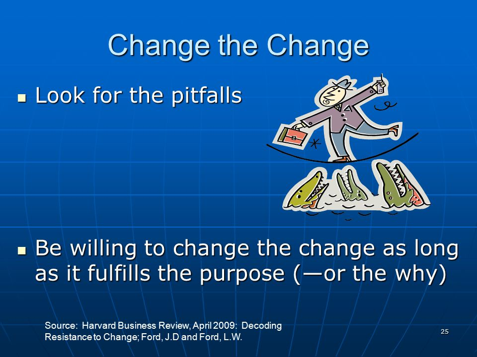 24 Return to Purpose Explain why………(jobs are being changed…) Explain why………(jobs are being changed…) Listen---to better understand the implications Li