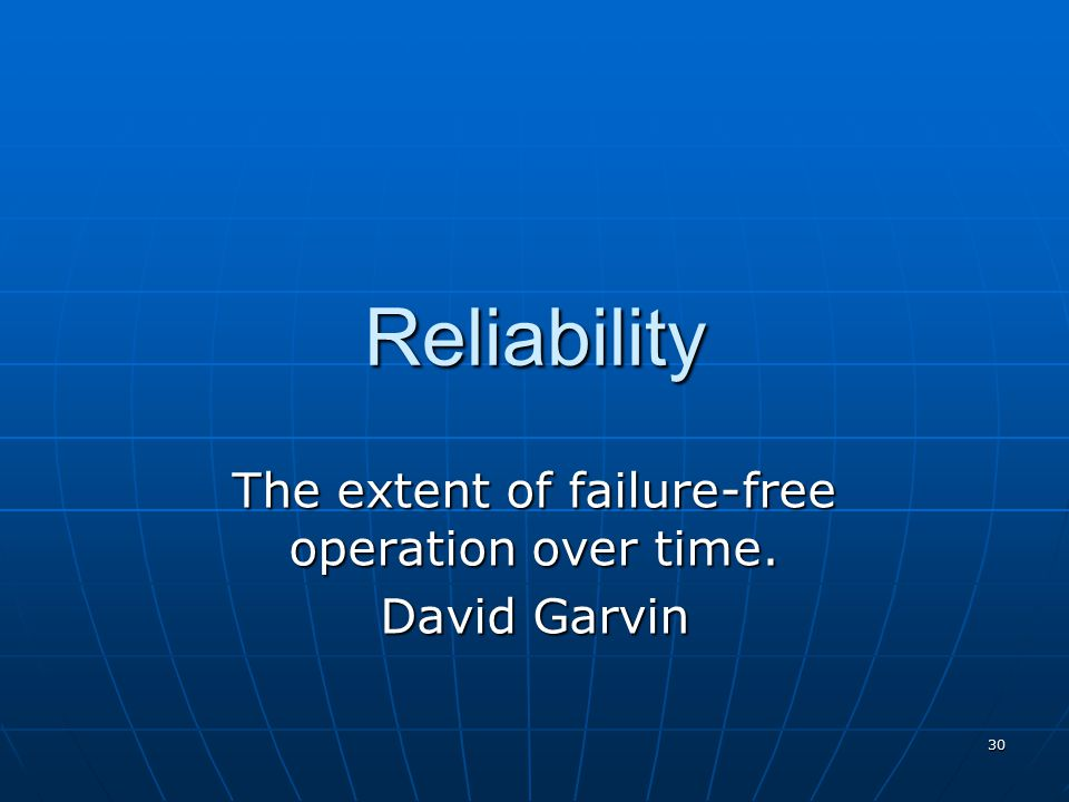 29 Sustainability Reliability
