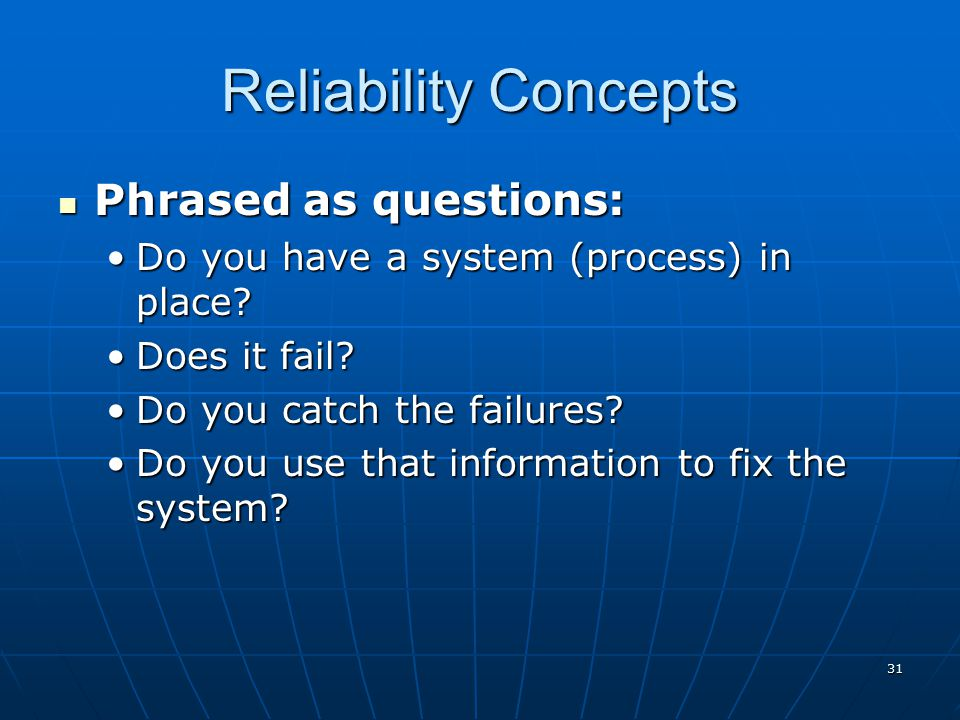 30 Reliability The extent of failure-free operation over time. David Garvin