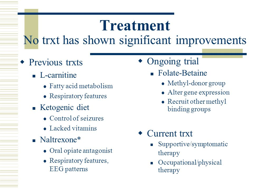 Treatment No trxt has shown significant improvements  Previous trxts L-carnitine Fatty acid metabolism Respiratory features Ketogenic diet Control of seizures Lacked vitamins Naltrexone* Oral opiate antagonist Respiratory features, EEG patterns  Ongoing trial Folate-Betaine Methyl-donor group Alter gene expression Recruit other methyl binding groups  Current trxt Supportive/symptomatic therapy Occupational/physical therapy