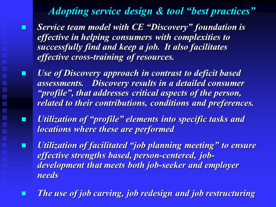 "Adopting service design & tool ""best practices"" Service team model with CE ""Discovery"" foundation is effective in helping consumers with complexities"