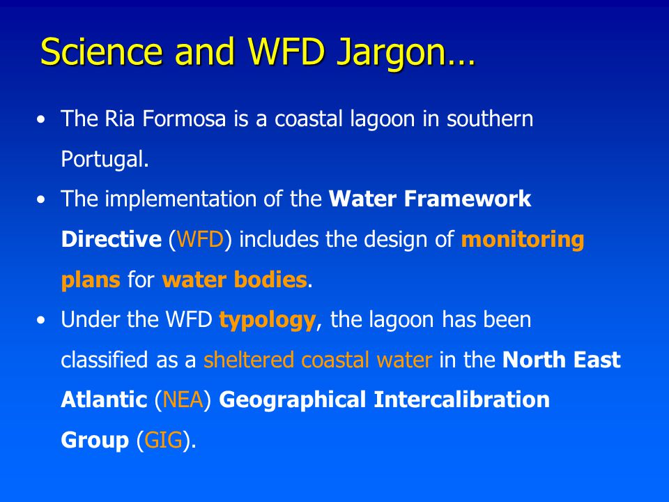 Science and WFD Jargon… The Ria Formosa is a coastal lagoon in southern Portugal. The implementation of the Water Framework Directive (WFD) includes t