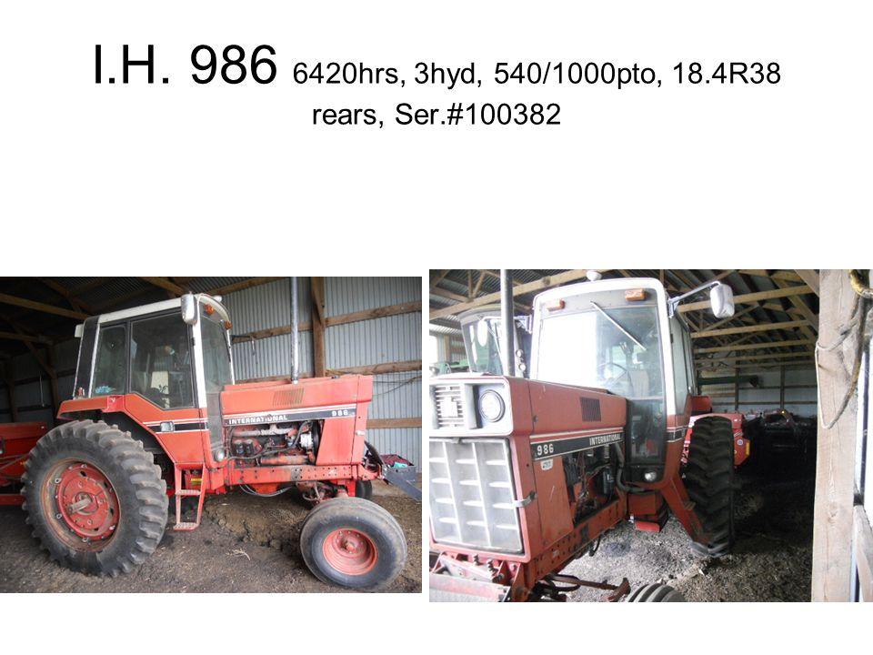 I.H. 986 6420hrs, 3hyd, 540/1000pto, 18.4R38 rears, Ser.#100382