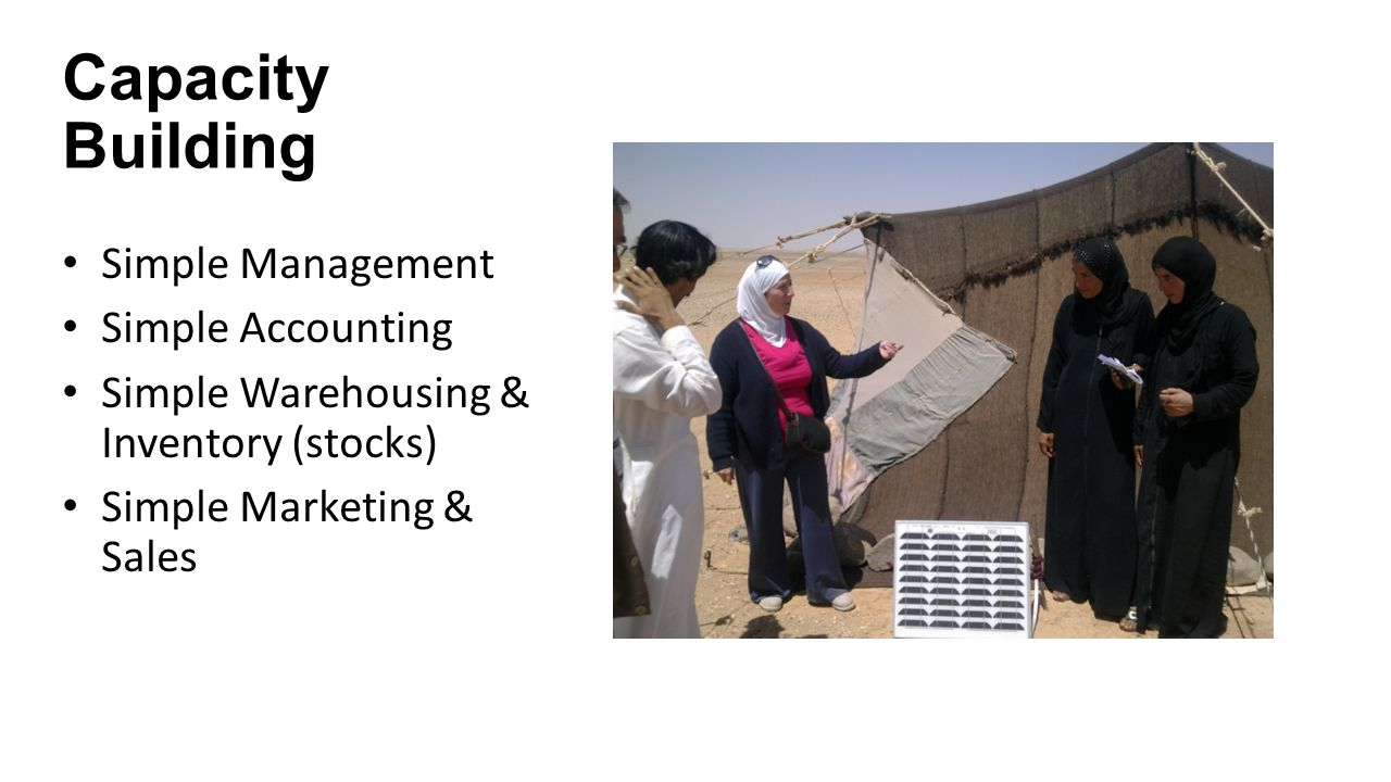 Capacity Building Simple Management Simple Accounting Simple Warehousing & Inventory (stocks) Simple Marketing & Sales