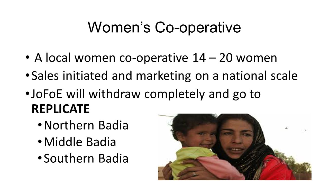 Women's Co-operative A local women co-operative 14 – 20 women Sales initiated and marketing on a national scale JoFoE will withdraw completely and go to REPLICATE Northern Badia Middle Badia Southern Badia