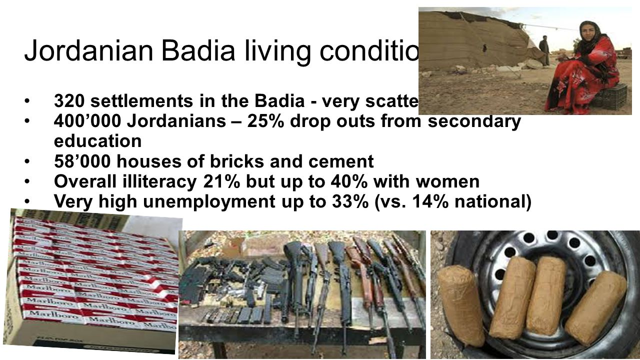 Jordanian Badia living conditions 320 settlements in the Badia - very scattered 400'000 Jordanians – 25% drop outs from secondary education 58'000 houses of bricks and cement Overall illiteracy 21% but up to 40% with women Very high unemployment up to 33% (vs.
