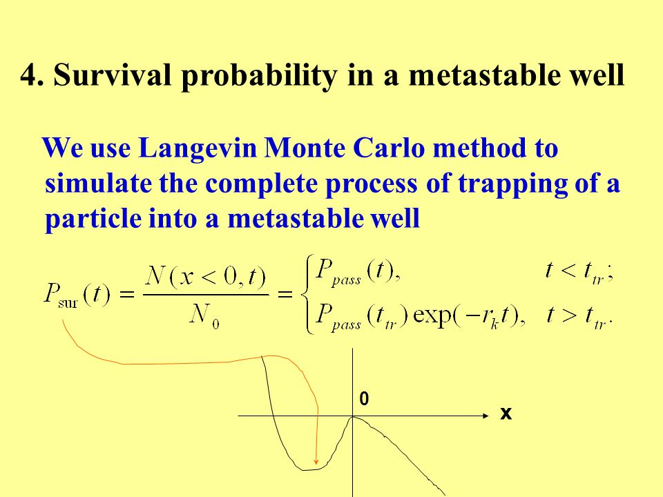 4. Survival probability in a metastable well We use Langevin Monte Carlo method to simulate the complete process of trapping of a particle into a meta
