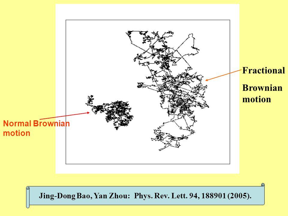 Jing-Dong Bao, Yan Zhou: Phys. Rev. Lett. 94, 188901 (2005). Normal Brownian motion Fractional Brownian motion