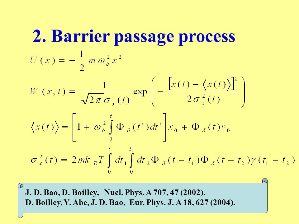 2. Barrier passage process J. D. Bao, D. Boilley, Nucl.