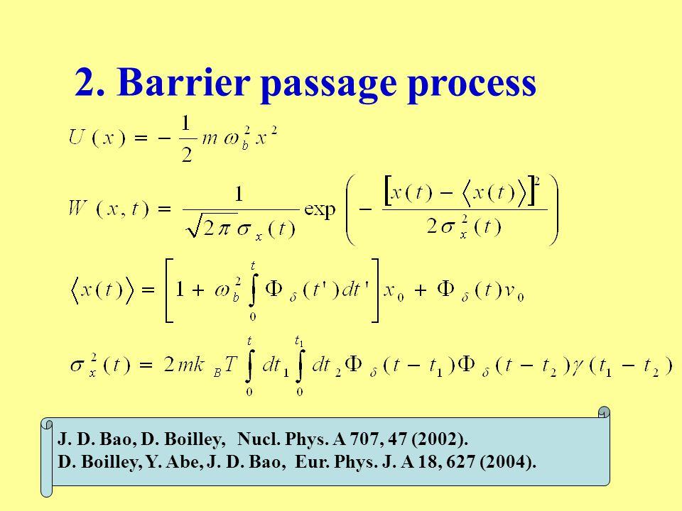 2. Barrier passage process J. D. Bao, D. Boilley, Nucl. Phys. A 707, 47 (2002). D. Boilley, Y. Abe, J. D. Bao, Eur. Phys. J. A 18, 627 (2004).