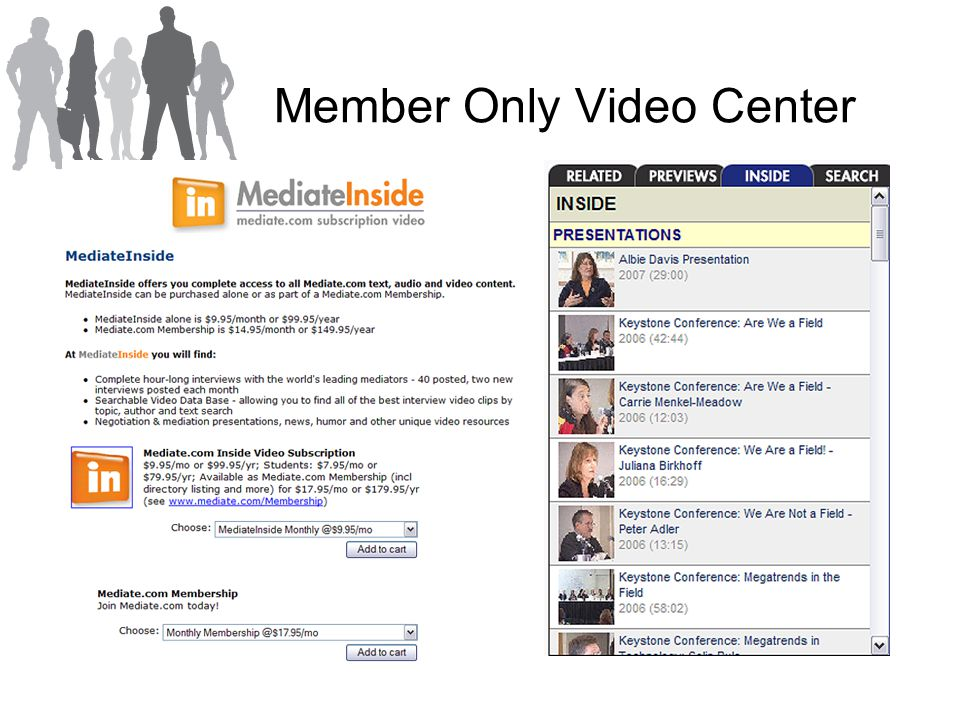 Member Only Video Center