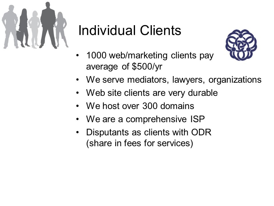 Individual Clients 1000 web/marketing clients pay average of $500/yr We serve mediators, lawyers, organizations Web site clients are very durable We host over 300 domains We are a comprehensive ISP Disputants as clients with ODR (share in fees for services)