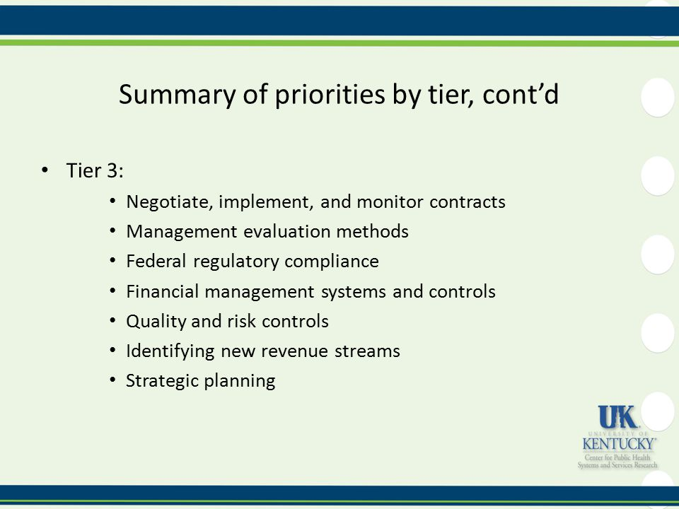 Summary of priorities by tier, cont'd Tier 3: Negotiate, implement, and monitor contracts Management evaluation methods Federal regulatory compliance