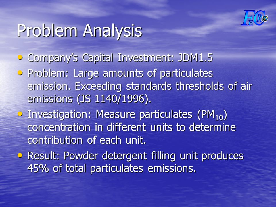 Problem Analysis Company's Capital Investment: JDM1.5 Company's Capital Investment: JDM1.5 Problem: Large amounts of particulates emission.