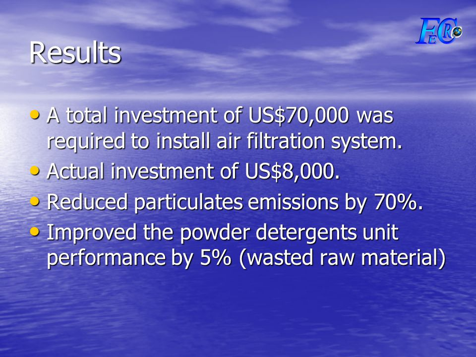 Results A total investment of US$70,000 was required to install air filtration system.
