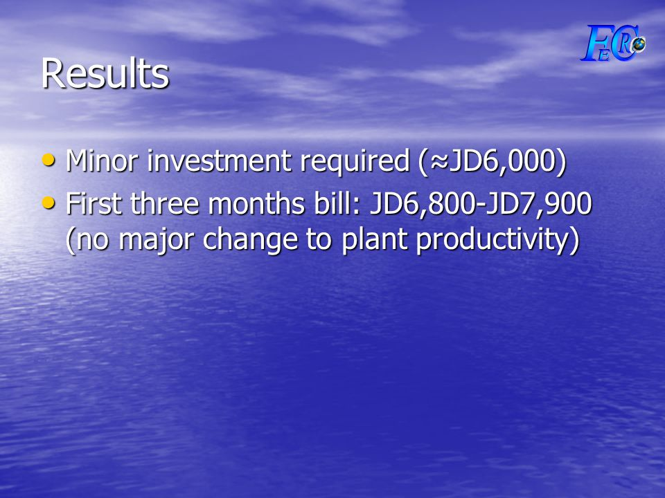 Results Minor investment required (≈JD6,000) Minor investment required (≈JD6,000) First three months bill: JD6,800-JD7,900 (no major change to plant productivity) First three months bill: JD6,800-JD7,900 (no major change to plant productivity)