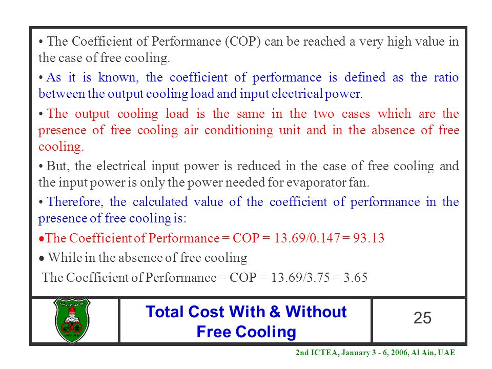 Total Cost With & Without Free Cooling 25 The Coefficient of Performance (COP) can be reached a very high value in the case of free cooling. As it is