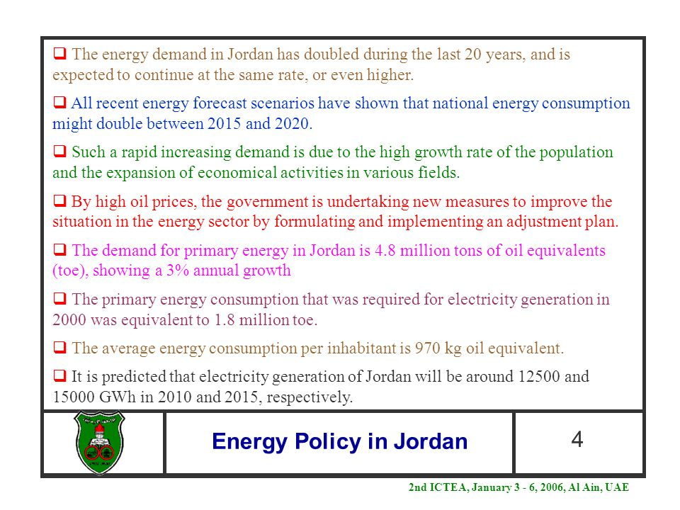 Energy Policy in Jordan 4  The energy demand in Jordan has doubled during the last 20 years, and is expected to continue at the same rate, or even hi