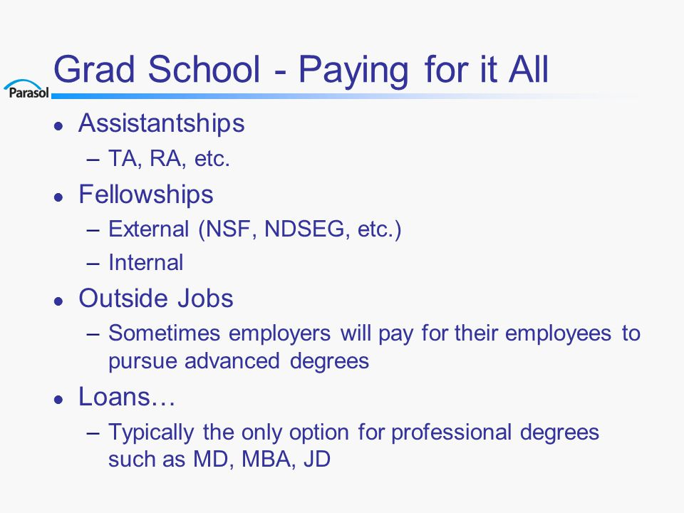 Grad School - Paying for it All l Assistantships –TA, RA, etc.