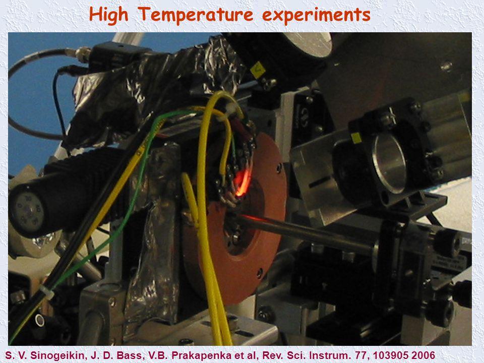 High Temperature experiments