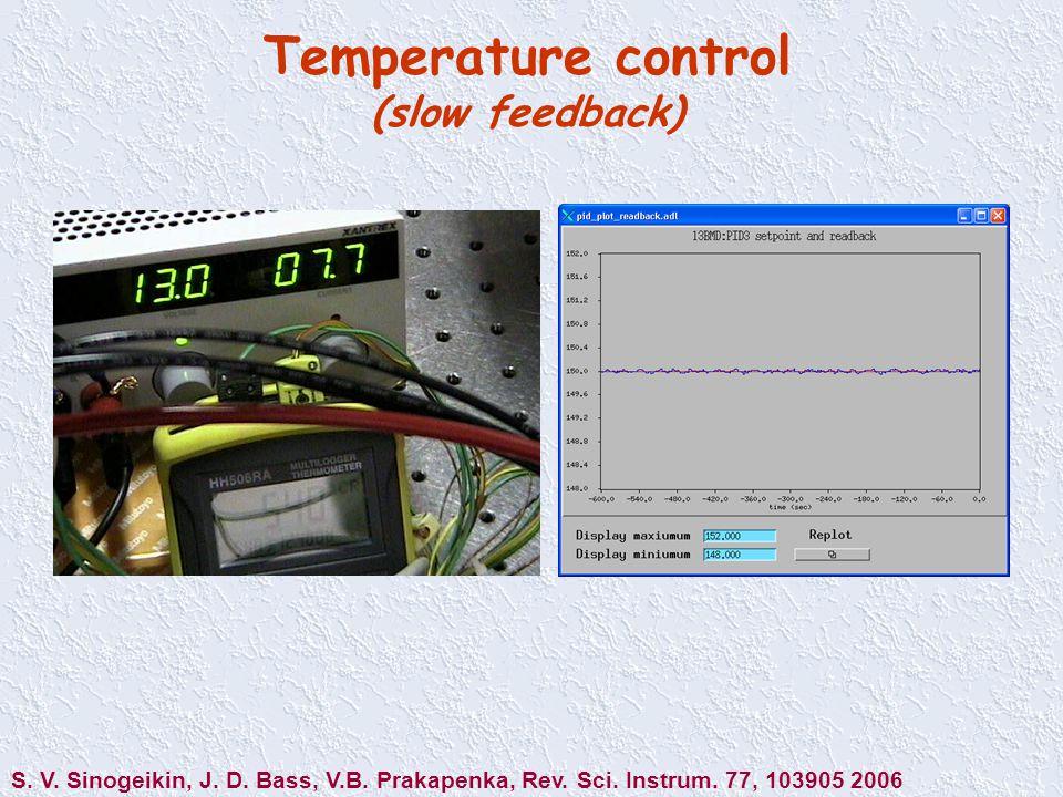 Temperature control (slow feedback) S. V. Sinogeikin, J.