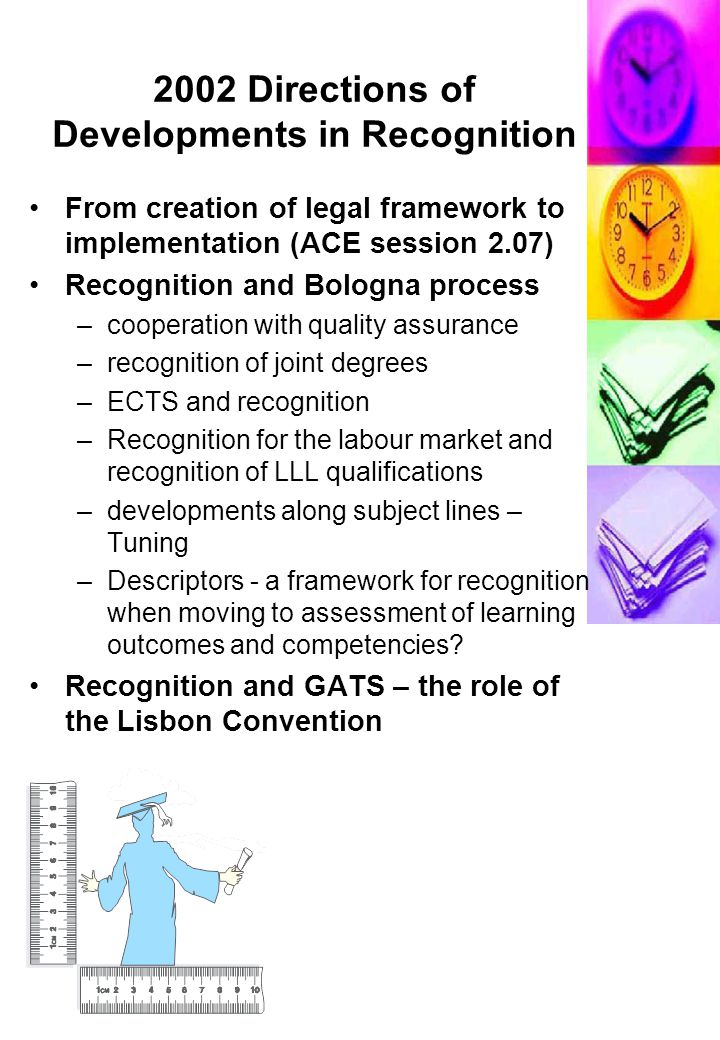 2002 Directions of Developments in Recognition From creation of legal framework to implementation (ACE session 2.07) Recognition and Bologna process –cooperation with quality assurance –recognition of joint degrees –ECTS and recognition –Recognition for the labour market and recognition of LLL qualifications –developments along subject lines – Tuning –Descriptors - a framework for recognition when moving to assessment of learning outcomes and competencies.