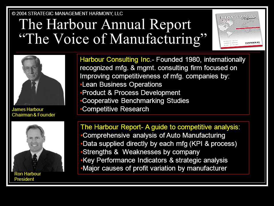 The Harbour Annual Report The Voice of Manufacturing James Harbour Chairman & Founder Ron Harbour President Harbour Consulting Inc.- Founded 1980, internationally recognized mfg.