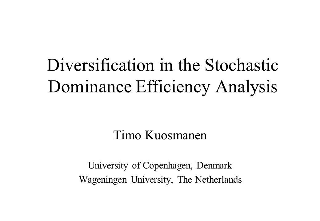 Definition of SD Risky portfolios j and k, return distributions G j and G k.