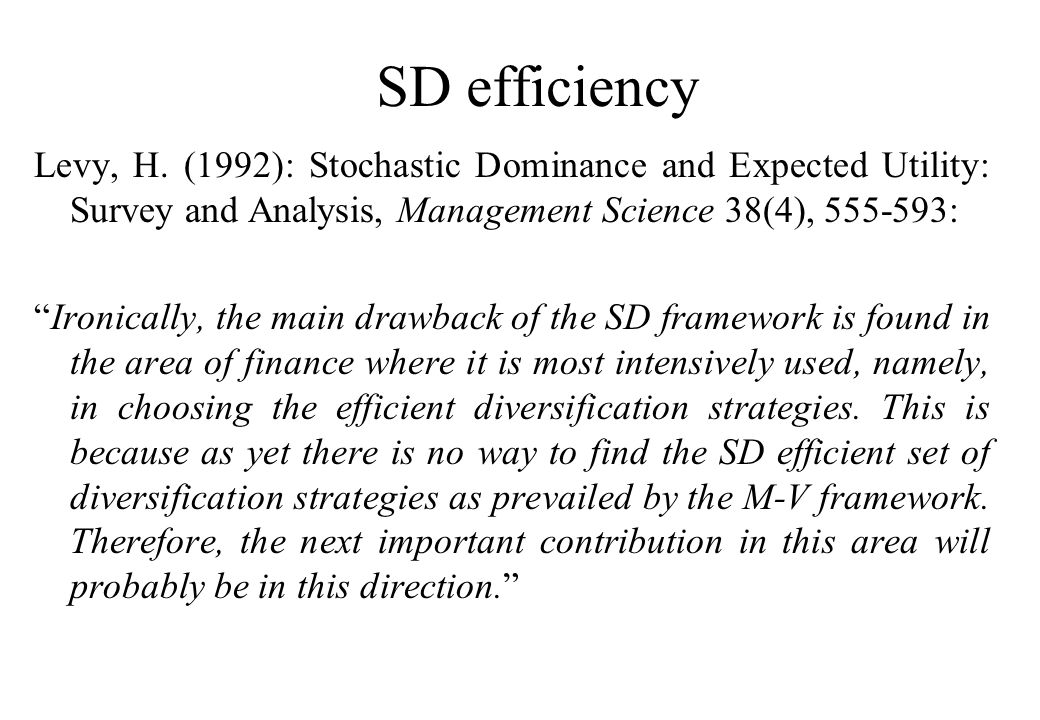 SD efficiency Levy, H.