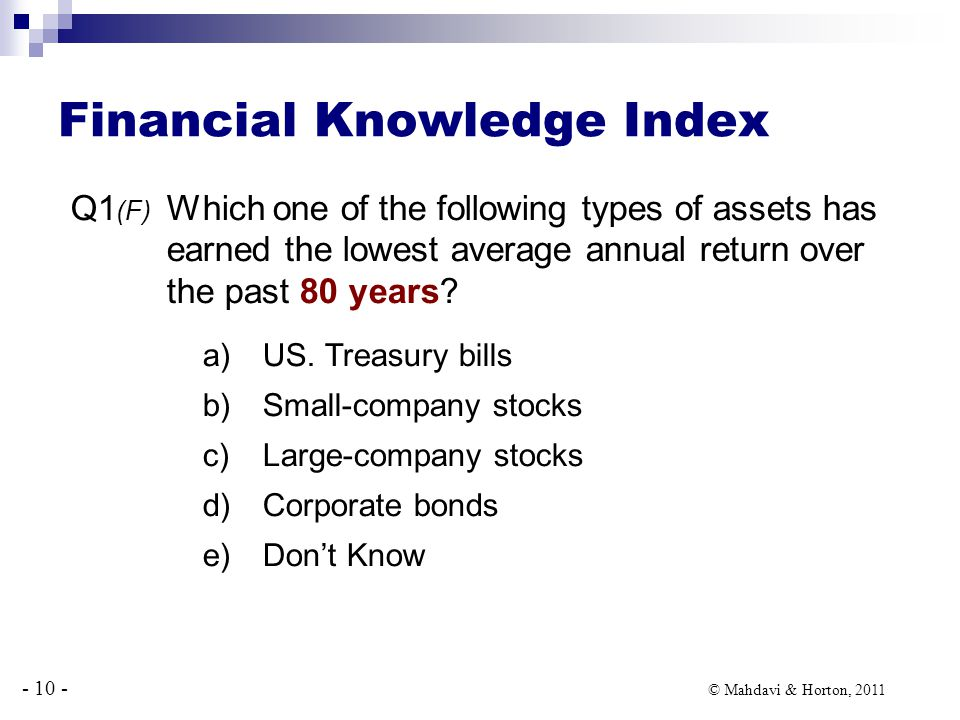 - 10 - © Mahdavi & Horton, 2011 Financial Knowledge Index Q1 (F) Which one of the following types of assets has earned the lowest average annual return over the past 80 years.