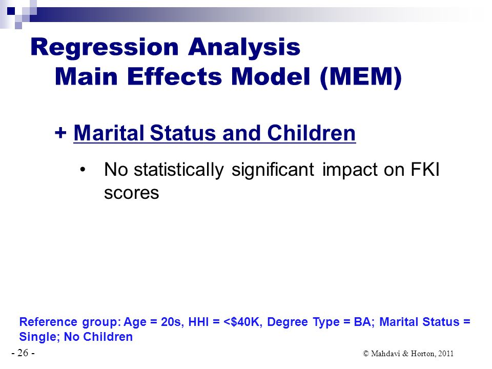 - 26 - © Mahdavi & Horton, 2011 + Marital Status and Children No statistically significant impact on FKI scores Regression Analysis Main Effects Model (MEM) Reference group: Age = 20s, HHI = <$40K, Degree Type = BA; Marital Status = Single; No Children