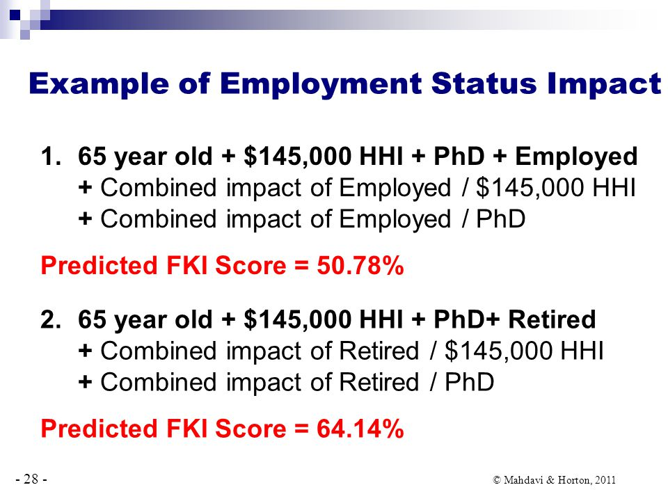 - 28 - © Mahdavi & Horton, 2011 Example of Employment Status Impact 1.65 year old + $145,000 HHI + PhD + Employed + Combined impact of Employed / $145,000 HHI + Combined impact of Employed / PhD Predicted FKI Score = 50.78% 2.65 year old + $145,000 HHI + PhD+ Retired + Combined impact of Retired / $145,000 HHI + Combined impact of Retired / PhD Predicted FKI Score = 64.14%