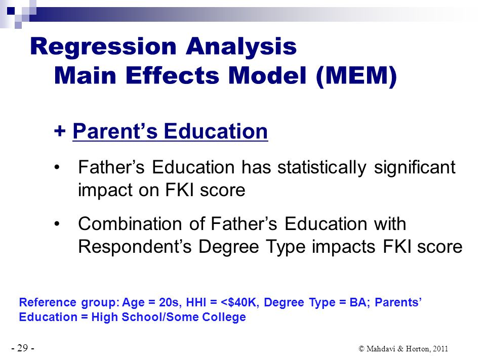 - 29 - © Mahdavi & Horton, 2011 + Parent's Education Father's Education has statistically significant impact on FKI score Combination of Father's Education with Respondent's Degree Type impacts FKI score Regression Analysis Main Effects Model (MEM) Reference group: Age = 20s, HHI = <$40K, Degree Type = BA; Parents' Education = High School/Some College