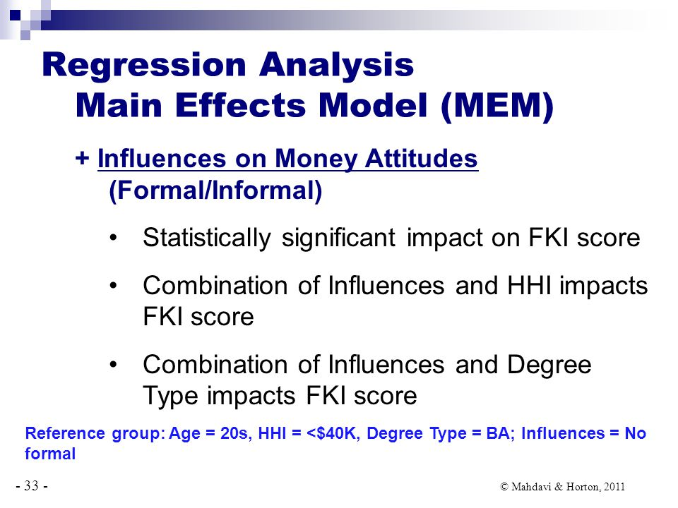 - 33 - © Mahdavi & Horton, 2011 Regression Analysis Main Effects Model (MEM) + Influences on Money Attitudes (Formal/Informal) Statistically significant impact on FKI score Combination of Influences and HHI impacts FKI score Combination of Influences and Degree Type impacts FKI score Reference group: Age = 20s, HHI = <$40K, Degree Type = BA; Influences = No formal