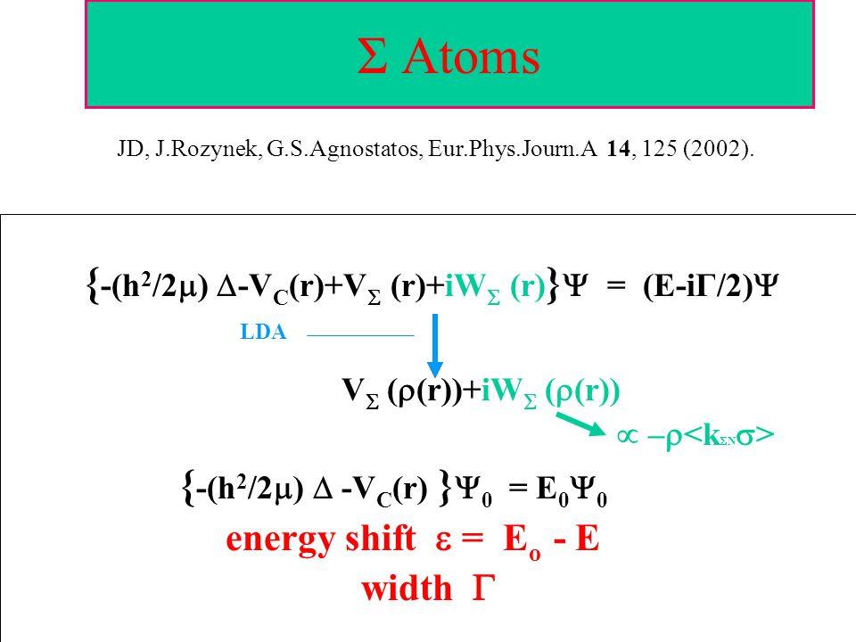 Σ Atoms { -(h 2 /2  )  -V C (r)+V  (r)+iW  (r) }  = (E-iΓ/2)  LDA V  (  (r))+iW  (  (r))  –  { -(h 2 /2  )  -V C (r) }  0 = E 0  0 ene