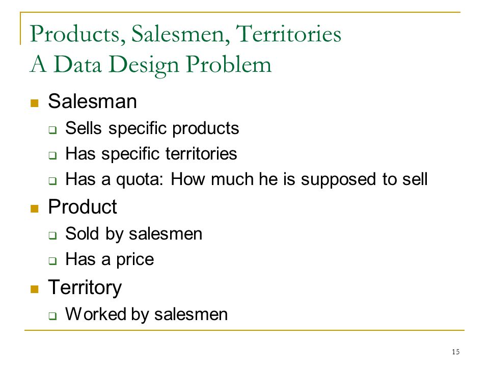 15 Products, Salesmen, Territories A Data Design Problem Salesman  Sells specific products  Has specific territories  Has a quota: How much he is s