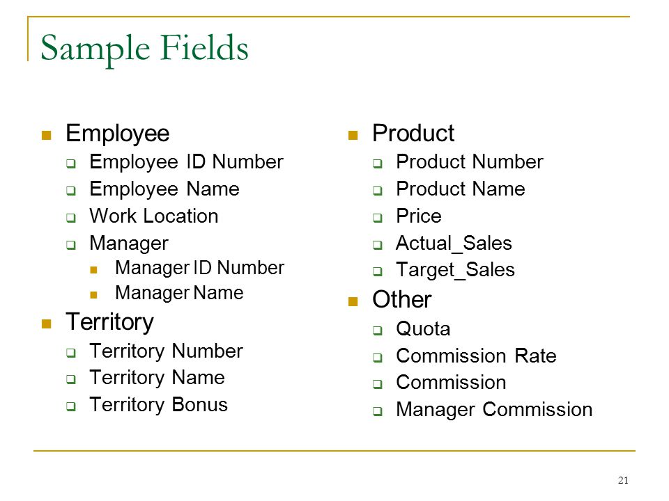 21 Sample Fields Employee  Employee ID Number  Employee Name  Work Location  Manager Manager ID Number Manager Name Territory  Territory Number 